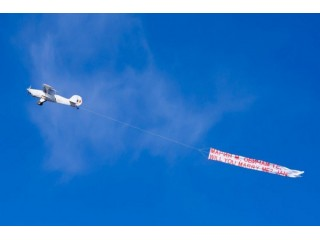 Sky banner – message on the sky in Bucharest