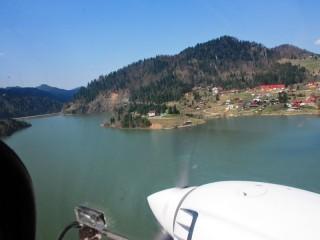 Scenic airplane flight in Bistrita